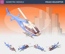 Isometric Police Helicopter Set. Police Transport Isolated On White Background.