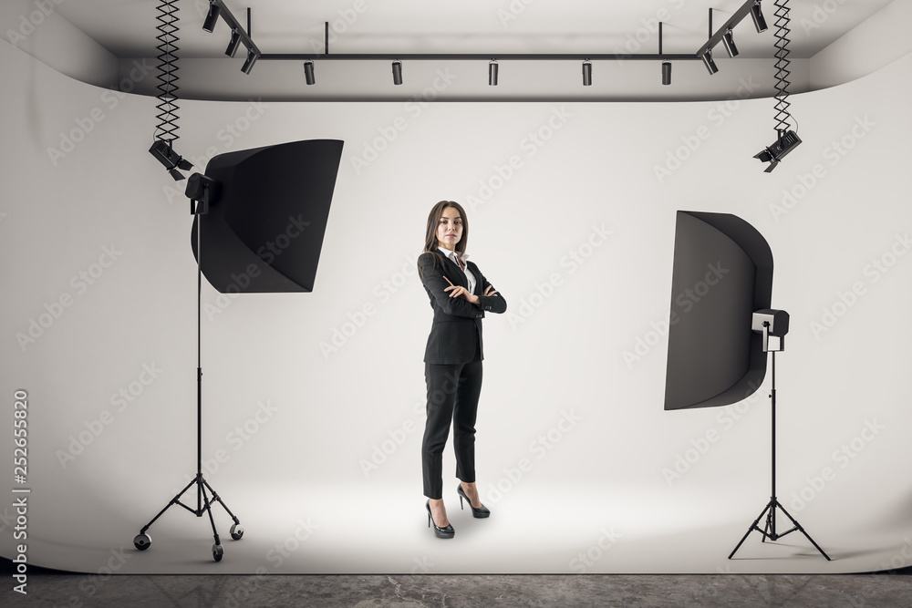 Fototapety, obrazy: Businesswoman in photo studio