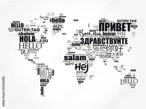 Fotografía  Hello in different languages word cloud World Map, business concept background