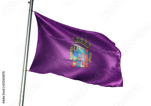 Palencia province of Spain flag waving isolated 3D illustration
