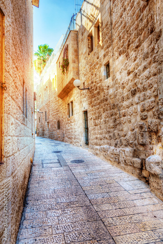 Canvas Prints Narrow alley Jerusalem street