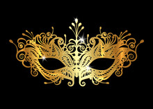Golden Venetian Mask Realistic With Laser Cut Gold Embroidery. Stylish Masquerade Party. Mardi Gras Card Invitation. Night Party Poster. Dance Flyer. Musical Festival Banner Templates. Vector Isolated