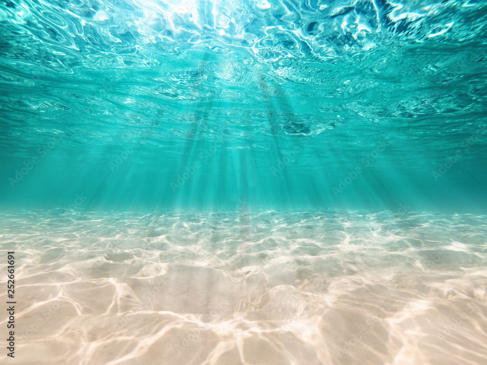 Fototapety, obrazy: underwater background  deep blue sea and beautiful light rays with sandy floor