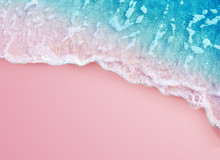 Soft Blue Ocean Wave On Pink B...