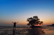 Silhouette of Travel Man Raising Hands with Seascape and Tree Background - Lifestyle Concept