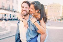 Happy Couple Bonding And Walki...