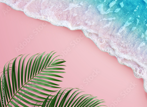 tropical palm leaf and soft blue wave on pink background - fototapety na wymiar