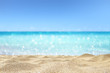 beautiful sandy beach with blur ocean background summer concept