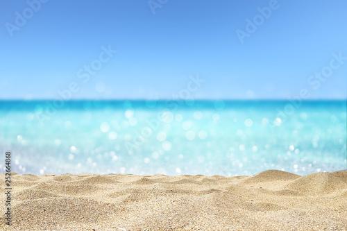 Obraz beautiful sandy beach with blur ocean background summer concept - fototapety do salonu