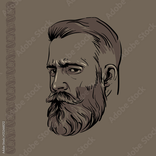 Canvas Print Hipster Man portrait with beard and pattern. Illustration.