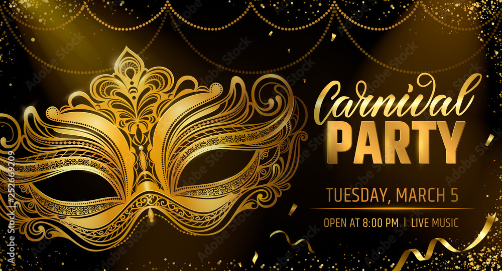 Fototapety, obrazy: Gold venetian mask. Carnival Party invitation card template. Spring holidays. Vector illustration EPS10.