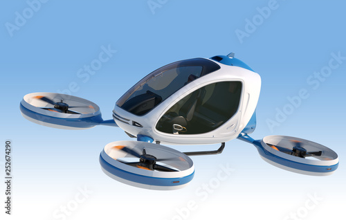 Electric Passenger Drone flying in the sky. Fototapet