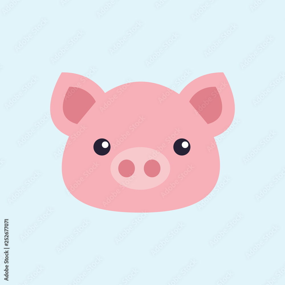 Pig  The haed of a pig  Blue background  Animal  Vector illustration