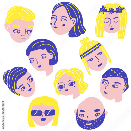 Doodle people faces  Man and woman avatars  Funny male and