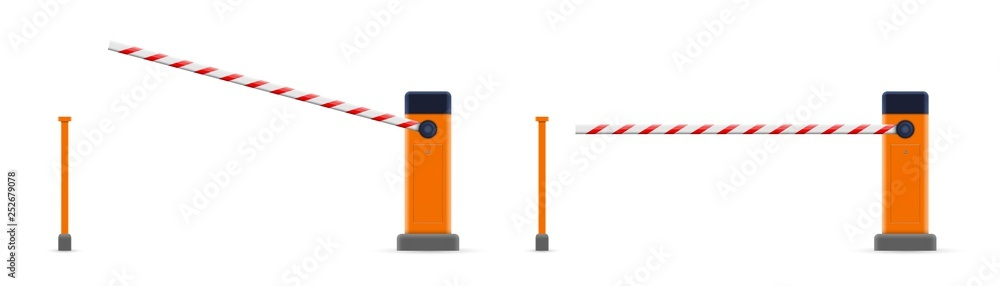 Fototapeta Creative vector illustration of open, closed parking car barrier gate set with stop sign isolated on transparent background. Art design street road stop border. Abstract concept graphic element