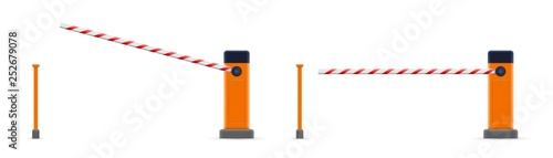Photo Creative vector illustration of open, closed parking car barrier gate set with stop sign isolated on transparent background