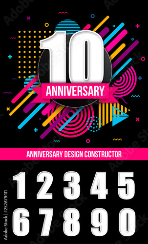 Leinwand Poster Creative vector illustration of anniversary logo celebration sign with different dates isolated on transparent background