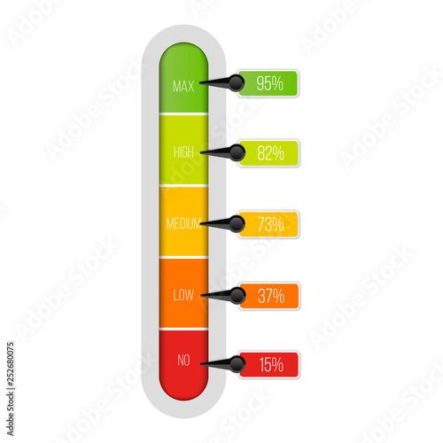 Photo Creative vector illustration of level indicator meter with percentage units isolated on transparent background