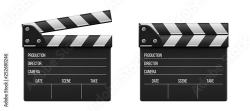 Photographie Creative vector illustration of 3d realistic movie clapperboard, film clapper isolated on transparent background