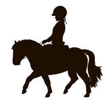 Silhouette Of A Young Rider Trotting On A Small Pony.