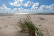Empty beach under blue cloudy sky