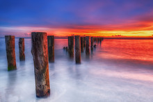 Scenic Art Sunset At Famous Old Naples Pier, Florida