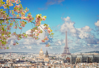 Obraz na Szkleskyline of Paris with eiffel tower