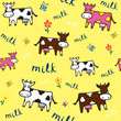 Pattern Funny Color Cows. Vector illustration.