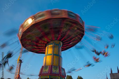 Aluminium Prints Amusement Park amusement ride at night