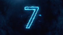 Electric And Futuristic 3D Illustration Counter Counting Down From Ten To Zero. Big Numbers With Fog And Cloud. Number 7
