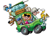 Cartoon Family Going On Vacation With Their Cars Fully Loaded Vector Illustration