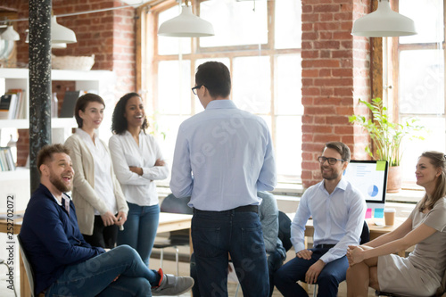 Fotografia, Obraz  Company executive manager talking with company members during briefing