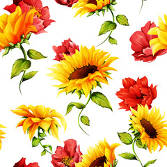 Fototapeta Słoneczniki Seamless pattern of sunflowers with pomegranate buds on white. Abstract. Hand drawn. Watercolor. Vector - stock