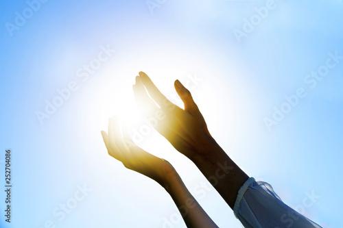 Fotografia, Obraz  mani, cielo, sole, preghiera, benessere, salute