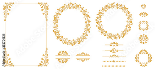 Foto  Vector set of graphic elements for design in gold color
