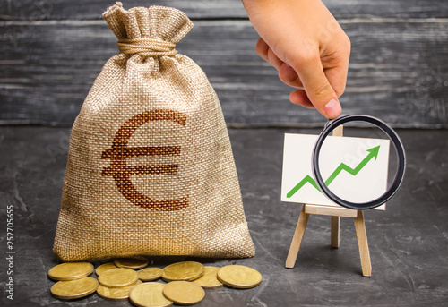 Foto  Magnifying glass is looking at a bag with euro money and green arrow up on the chart