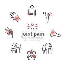 Joint Pain. Icons Set. Vector Signs For Web Graphics.