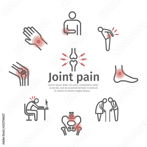 Obraz Joint pain. Icons set. Vector signs for web graphics. - fototapety do salonu