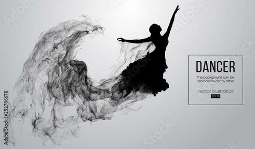 Abstract silhouette of a dencing girl, woman, ballerina on the white background from particles Poster Mural XXL