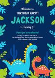 Fototapeta Dinusie - Dinosaur Birthday Party Invitation. Vector