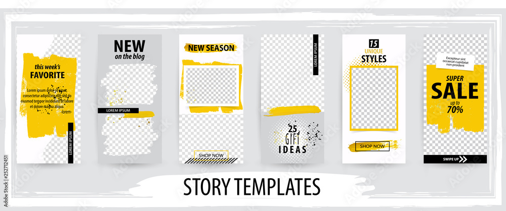 Fototapety, obrazy: Trendy editable template for social networks stories, vector illustration.