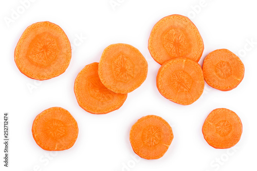 Carrot slice isolated on white background. Top view. Flat lay Billede på lærred