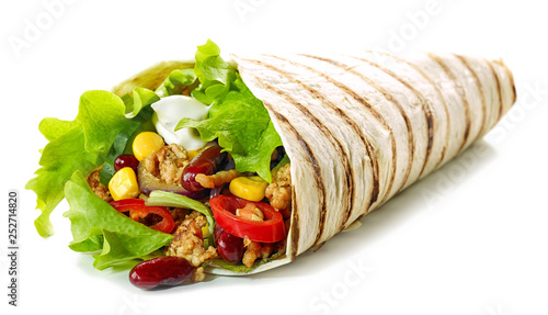 Cuadros en Lienzo Tortilla wrap with fried minced meat and vegetables