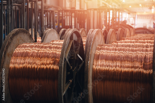 Valokuvatapetti Production of copper wire, bronze cable in reels at factory