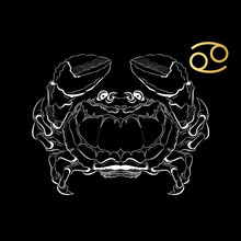 Zodiac Sign Cancer Isolated On Black Background. Vector.