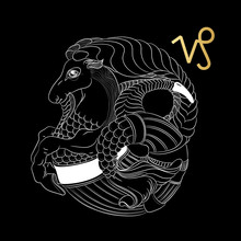 Zodiac Sign Capricorn Isolated On Black Background. Vector.