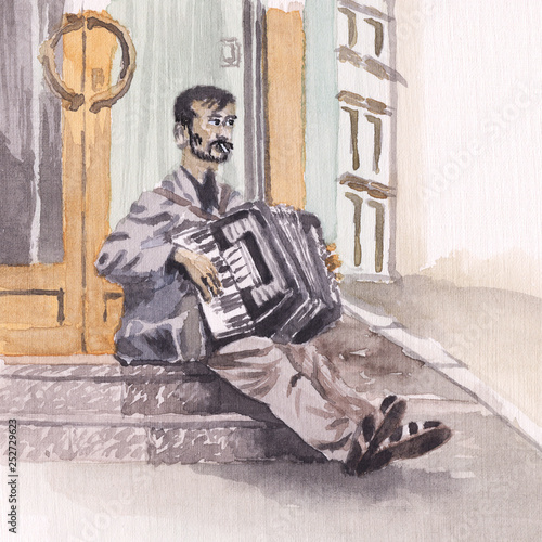 Watercolor painting - Street accordionist Slika na platnu