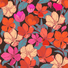 Floral Seamless Pattern With Apple Blossoms. Vector