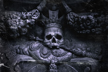 Sic Transit Gloria Mundi (Latin Phrase): Thus Passes The Glory Of The World. Human Skull As Symbol Of Death And Horror On The Throne As A Metaphor That Nothing Is Eternal.