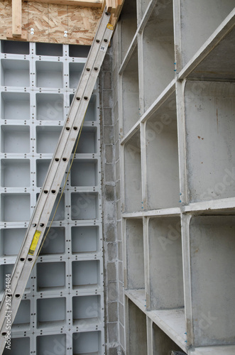 structure, ladder, cement,upwards, construction, unfinished, metal, framing, ladder